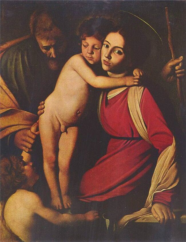 Holy family with st john the baptist 1603 - by Caravaggio