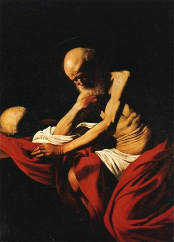 Saint jerome in meditation 1606 - by Caravaggio