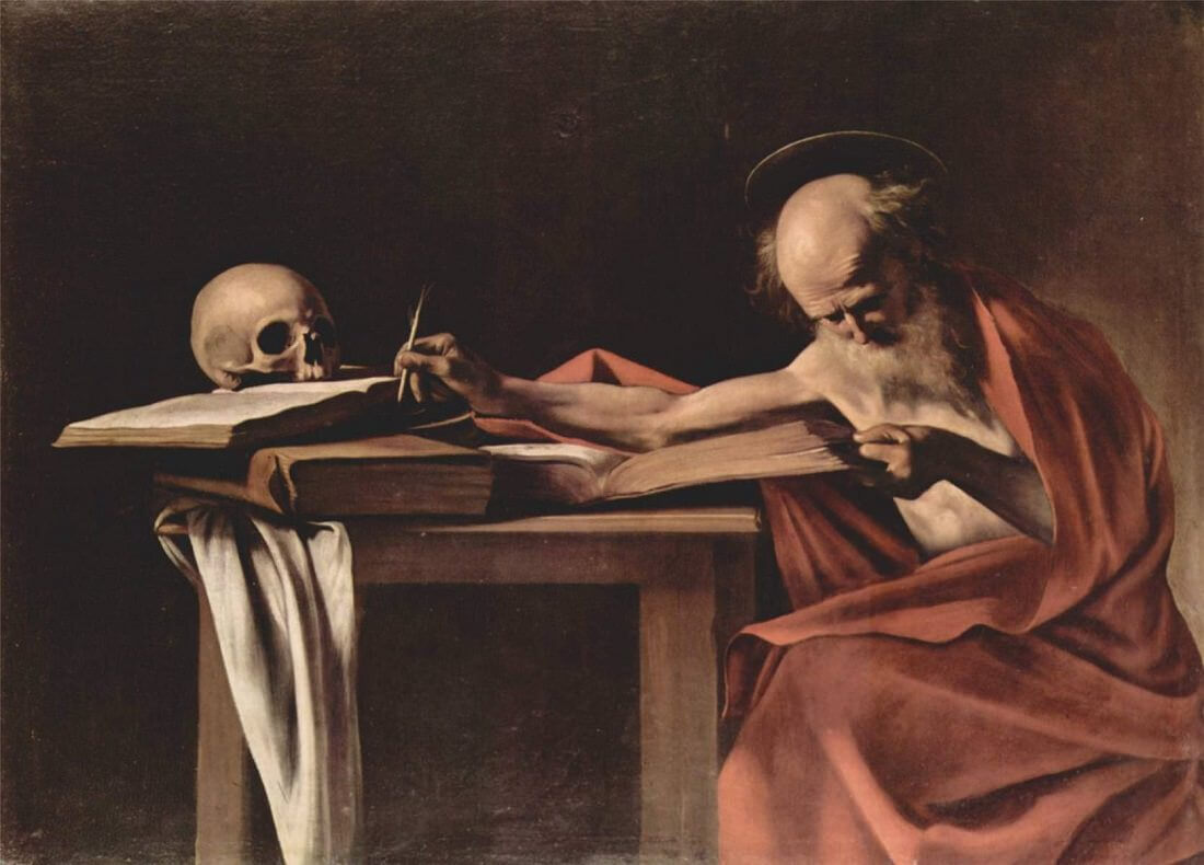 Saint jerome writing 1605 - by Caravaggio