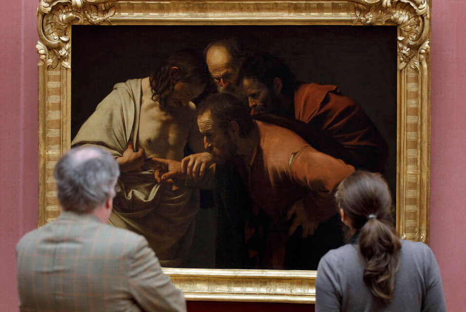 the incredulity of saint thomas 1603 by caravaggio